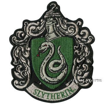 "Licensed cool Harry Potter Slytherin Snake Crest Embroidered IRON ON Patch Badge 3 1/4"" x 4"""