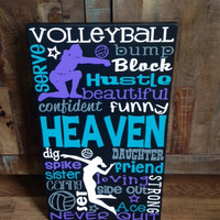 Personalized Wooden Volleyball Teen Subway Art Bedroom Wall art 12x20""