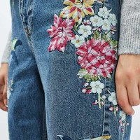MOTO Floral Embroidered Mom Jeans - Jeans - Clothing