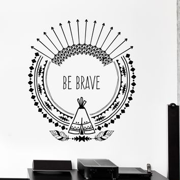 Vinyl Wall Decal Inspire Quote Arrows Ethnic Art Feathers Stickers Unique Gift (ig4236)