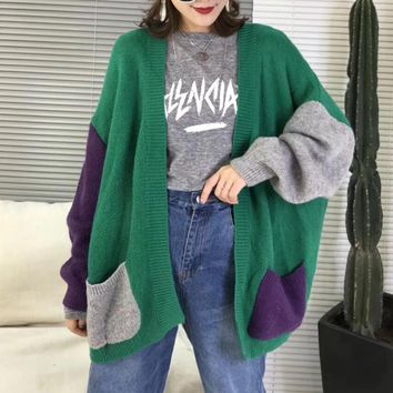 """Gucci"" Women Casual Fashion Multicolor Beaded Letter Long Sleeve Cardigan Knitwear Sweater Coat"