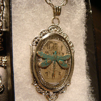 Victoran Style Watch Face with Dragonfly Pendant Necklace  - Upcycled Jewelry  (1856)