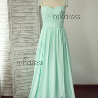 Mint Blue Chiffon Long Bridesmaid Dress Pearl Beaded Cap Sleeves Prom Dress Dresses for Wedding