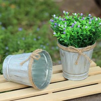 Vintage Metal Iron Keg Flower Pot Hanging Balcony Garden Plant Planter Decor Pot 9.7*8.5*6.5CM