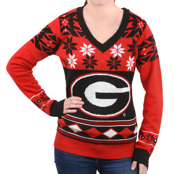 "Georgia Bulldogs Women's Official NCAA ""Big Logo"" V-Neck Sweater by Klew"