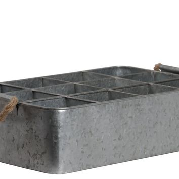 12 Slots Rectangular Metal Tray With Rope Handles, Galvanized Gray