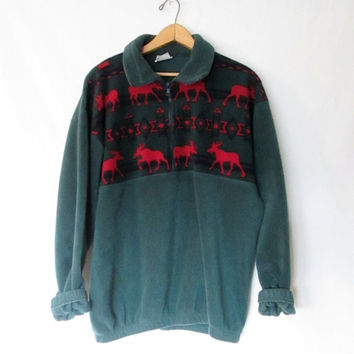 Vintage 1990s Moose Fleece Pullover Jacket