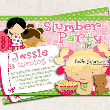 Sleepover Birthday Party Invitation by missbellaexpressions