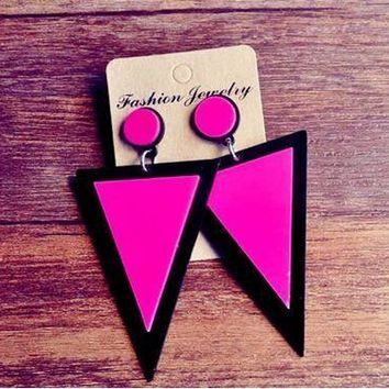 Cool New fashion design big exaggerated rose red long triangle drop earring punk style rock party queen geometric earrings brincosAT_93_12