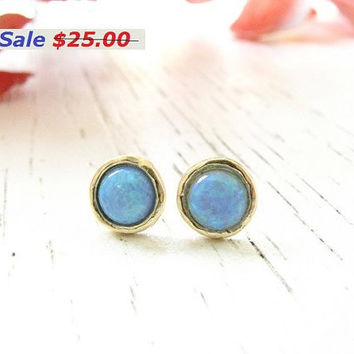 On Sale Gold earring, opal earrings, stud earrings with genuine opal stone