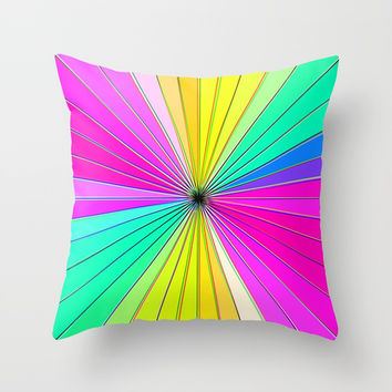 Color Burst I (Hot Pink // Minty Green) Throw Pillow by AEJ Design