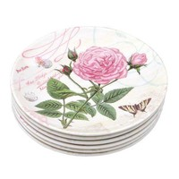 Shall Housewares International Rose 6.5'' Melamine Plastic Plate (Set of 6) - Walmart.com