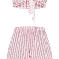 Pink Striped Bow Front Short PJ Set