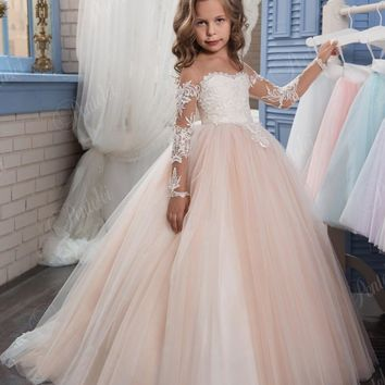 Blush Ball Gown Flower Girl Dresses for Weddings Cheap Lace Appliques Long Sleeve Girls Pageant Gown 2017 Communion Dress FH123