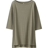 WOMEN DRAPE 3/4 SLEEVE LONG T-SHIRT | UNIQLO