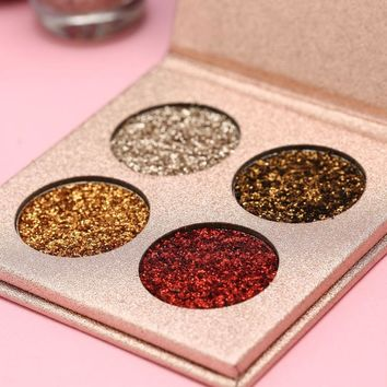 BEAUTY GLAZED Glitter Eyeshadow Palette 4 Ultra Pigmented Glitter Eye Shadow Pallete Shining Shimmer Makeup Long Lasting Make up