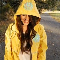 Rain Jacket With Monogram | Yellow | Throw A Tantrum