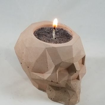 Concrete Container No.7 Skull Votive Holder