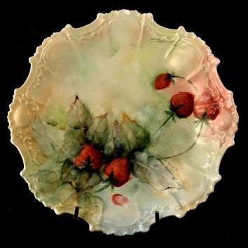 Coiffe Hand Painted Red & Green Scalloped Limoges Porcelain Berry Plate