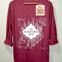 The Marauder's Map Shirt Harry Potter Shirts Red Long Sleeve Unisex Adults Size S M L