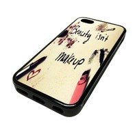 Apple iPhone 5C 5 C Case Cover Skin Beauty Isn't Makeup Inspiration DESIGN BLACK RUBBER SILICONE Teen Gift Vintage Hipster Fashion Design Art Print Cell Phone Accessories
