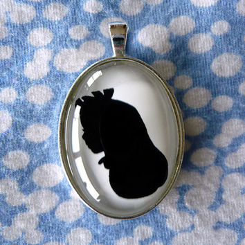 Alice in Wonderland Silhouette Cameo Pendant Necklace