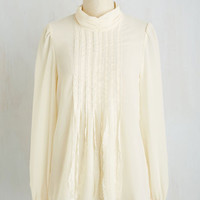 French Mid-length Long Sleeve Decorously Courtly Top