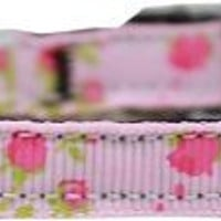 """Roses Nylon Dog Collar with classic buckle 3-8"""" Pink Size 10"""