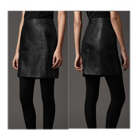 Black Leather Zipper Mini Pencil Skirt