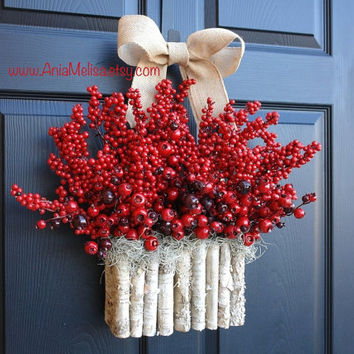 Christmas wreaths Holidays wreaths red berry berries wreaths front door decor birch bark decorations wreath