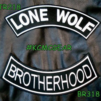 LONE WOLF Rocker Patches Set for Biker Vest TR218-BR318