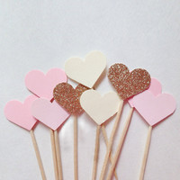 10PCS Handmade Lovely Heart Cupcake Toppers, Party Supplies Birthday Wedding Party Decoration, baby Girls Birthday Party Decor