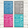 Bathroom Rules Home Decor Typography Digital Print - 4 Designs, with 4 different colors - Rustic, Vintage Chic - 5 X 7 - INSTANT DOWNLOAD