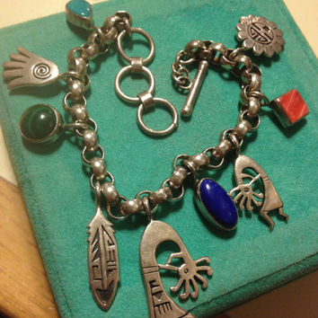 Sterling Charm Bracelet Navajo Hopi Lapis Turquoise Malachite Red Coral Silver 925 60s Kokopelli Hand Feather Native Tribal Jewelry Vintage