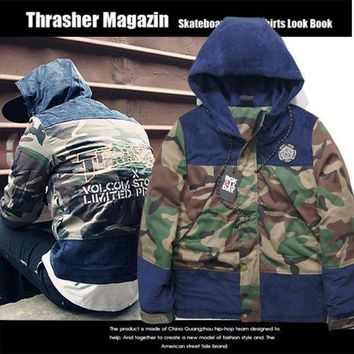 PEAPGZ9 Thrasher Cotton Apparel Fashion Camouflage Patchwork Jacket [103836975116]