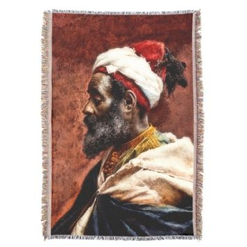 Profile of Moroccan Man Tapestry/ Throw Blanket