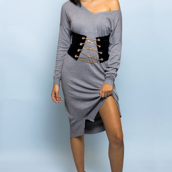 Emma Knit Sweater Dress - Grey