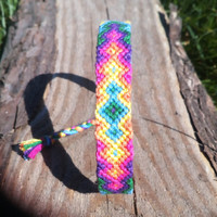Rainbow hippie friendship bracelet handwoven aztec bright neon pink blue yellow green violet gift girlfriend  boyfriend Ibiza beach sea love