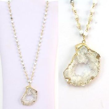 Howlite w/ Quartz Drusy & Crystal Pendant/Necklace - Gold Plated