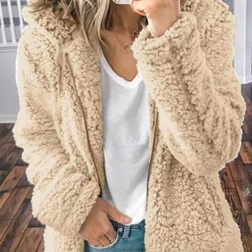 New Khaki Pockets Zipper Teddy Fuzzy Long Sleeve Hooded Casual Outerwear