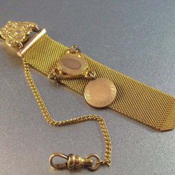 Vintage Victorian Watch Fob Chain, Ornate Gold Filled I.S. Co.