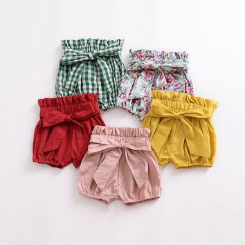 Baby girls shorts with bow candy colors summer infant bebes clothing toddler girls bloomers ruffle shorts kids clothes