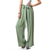 SHEER PLEATED WIDE LEG TROUSERS / PALAZZO PANTS - SAGE GREEN - S M L