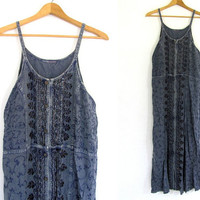 vintage sun dress. embroidered maxi dress. button up front Festival dress.