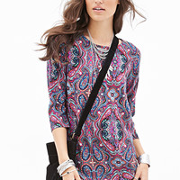 FOREVER 21 Paisley Shift Dress Navy/Multi