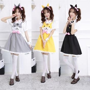 LMFON Hot Game 2015 New Arrival Neko Atsume Cosplay Costume Cute Cat Thicken cute Lolita maid costume set