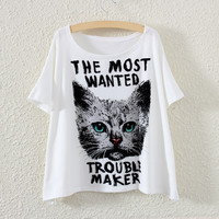 White The Most Wanted Trouble Maker Cat Print T-Shirt