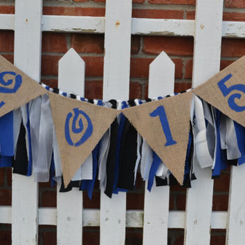 2015 Graduation Burlap Banner with Fabric banner in school colors 4 feet long class of 2015