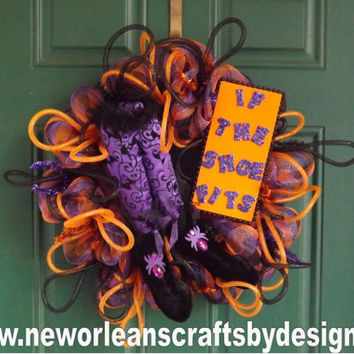 Halloween Plaid Deco Mesh If The Shoe Fits Witch Wreath