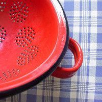 Vintage French enameled colander, red kitchen strainer